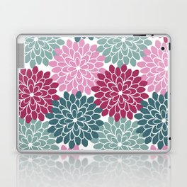 Petals in Rose, Maroon and Light and Dark Cyan Laptop & iPad Skin