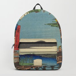 Big Bridge In Edo City. Ukiyoe Landscape Backpack