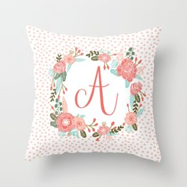 Monogram A - cute girls coral florals flower wreath, coral florals, baby girl, baby blanket Throw Pillow