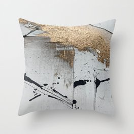 Still: an abstract mixed media piece in black, white, and gold by Alyssa Hamilton Art Throw Pillow