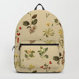 Wild Forest and Field Flower Herb Pattern Backpack