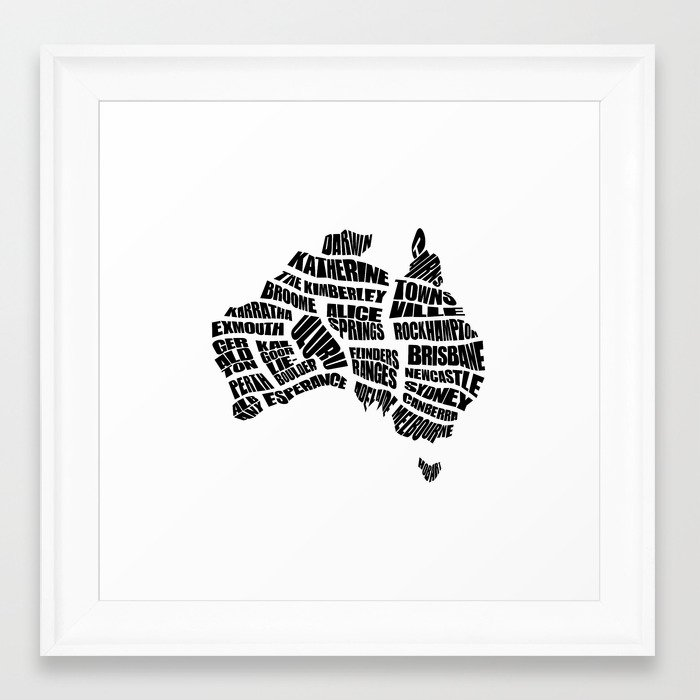 Australia Word Map - Black and White Framed Art Print by ...