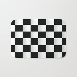 BLACK AND WHITE SQUARES Abstract Art Bath Mat