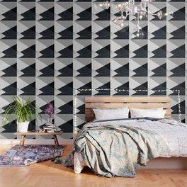 Geometrics - marble & silver Wallpaper