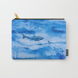 Great white in blue Carry-All Pouch