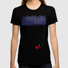 Alone in the forest MEDIUM Black Womens Fitted Tee