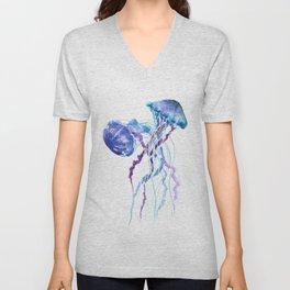 Jellyfish Blue Seaworld artwork Aquatic Design Unisex V-Neck