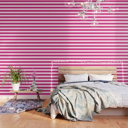 Barbie Pink (1999-2004) - solid color - white stripes pattern Wallpaper