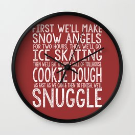 ELF CHRISTMAS MOVIE To-Do List Snow Angels Skating Cookie Dough Snuggle Buddy The Elf Will Ferrell Wall Clock
