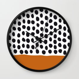 Classy Handpainted Polka Dots with Autumn Maple Wall Clock