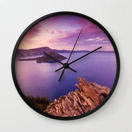 Crater Lake Sunset Wall Clock
