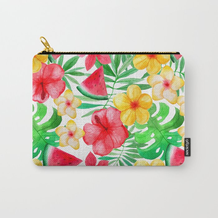 happy summer life aloha flowers and melon pattern carry all