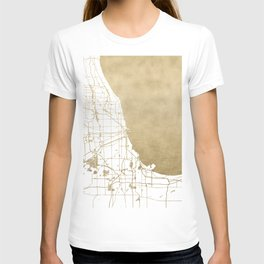 Chicago Gold and White Map T-shirt