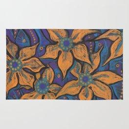 Golden flowers, decorative painting, pastel, floral motive Rug