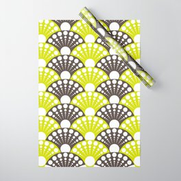 brown and lime art deco inspired fan pattern Wrapping Paper