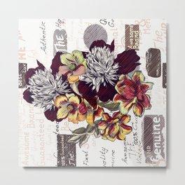 Beautiful illustration with peony flowers in vintage style Metal Print