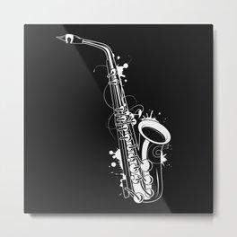 white saxophone graffiti Metal Print
