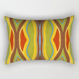 Green Brown Red with Orange and Blue Highlighting Retro Style by annmariescreations Rectangular Pillow