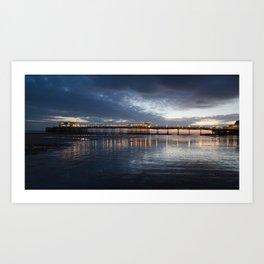 Sunset behind Worthing pier  Art Print