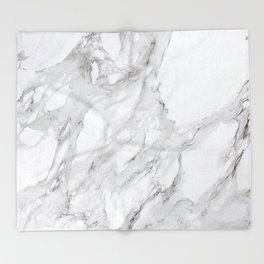 Grey and White Marble Throw Blanket