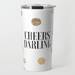 CHEERS DARLING GIFT, Wedding Quote,Anniversary Print,Gold Confetti,Cheers Sign,Champagne Quote,Celeb Travel Mug