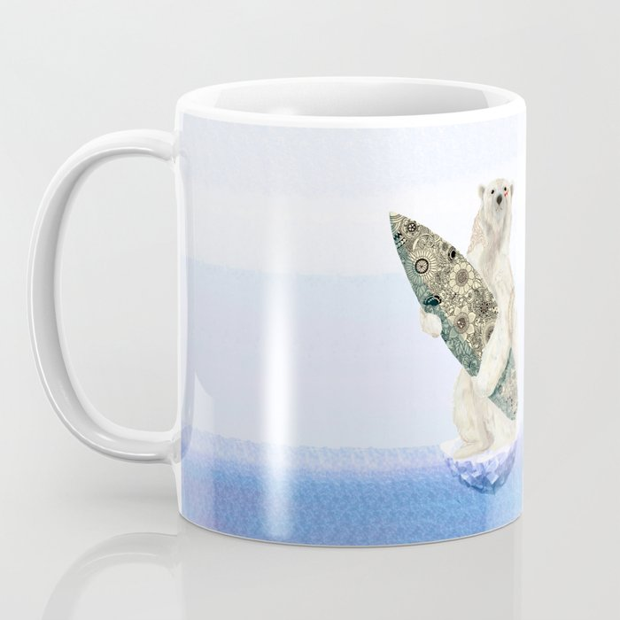Polar bear & Surf (black) Coffee Mug
