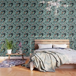 Swallows / Martins and Swift pattern Turquoise Wallpaper