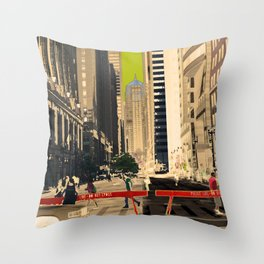 Downtown Chicago photography digitally reimagined - modern Chicago skyline in pop art Throw Pillow