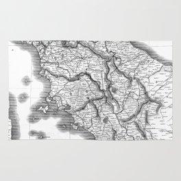 Vintage Map of Tuscany Italy (1814) BW Rug