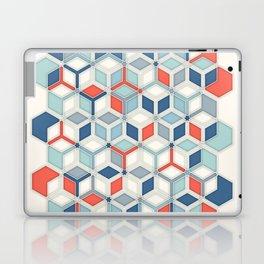 Soft Red, White & Blue Hexagon Pattern Play Laptop & iPad Skin
