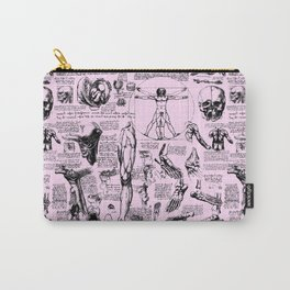 Da Vinci's Anatomy Sketchbook // Light Pink Carry-All Pouch