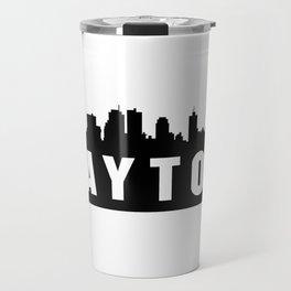 Dayton, Ohio City Skyline Silhouette Travel Mug