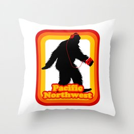 Retro Sasquatch Pacific Northwest Throw Pillow