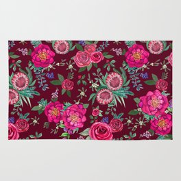 Burgundy Floral Thanksgiving , fall & winter floral in watercolor Rug