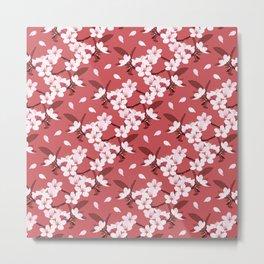 Sakura on red background Metal Print