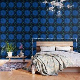 Blue Kaleidoscope, Floral, Pattern, Mandala, Fractal, Abstract, Alchemy, Oriental Wallpaper