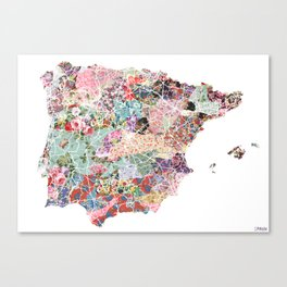 Spain map flowers composition Canvas Print