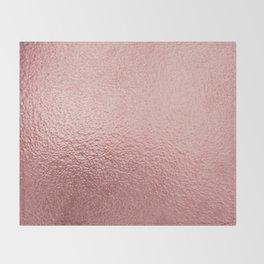 Pure Rose Gold Metal Pink Throw Blanket