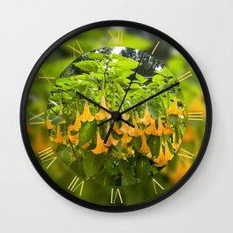 Yellow Brugmansia tree bloom Wall Clock