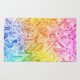 Bright Gradient (Hot Pink Orange Green Yellow Blue) Geometric Pattern Print Rug
