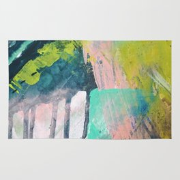 Melt: a vibrant abstract mixed media piece in blues, greens, pink, and white Rug