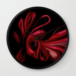 Red Velvet Ribbons Wall Clock