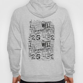 East West Grunge Distressed black white #urban typography Hoody