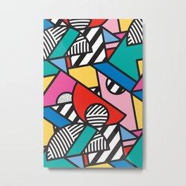 Colorful Memphis Modern Geometric Shapes Metal Print