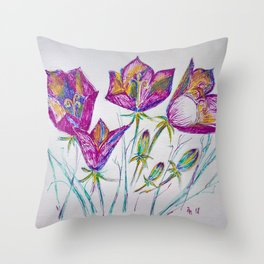 pink bell flowers painted Throw Pillow