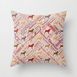 Bloodhound dog Word Art pattern Throw Pillow