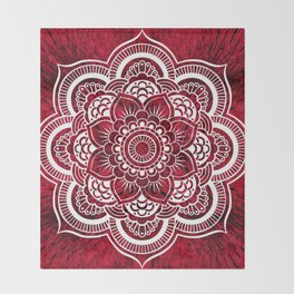 Mandala Red Colorburst Throw Blanket
