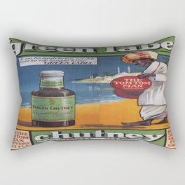 Vintage poster - Green Label Indian Mango Chutney Rectangular Pillow