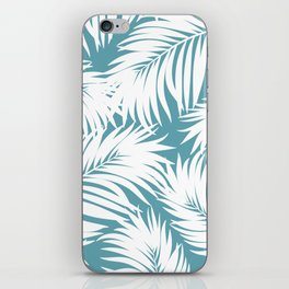 Palm Tree Fronds White on Soft Blue Hawaii Tropical Décor iPhone Skin