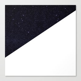Modern Half Cut Starry Night and White Canvas Print